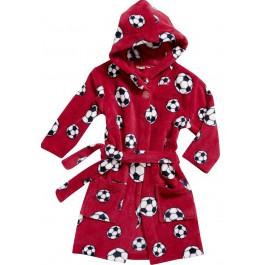 Kinderbadjas Rode kinderbadjas met voetballen
