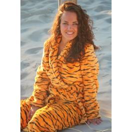 Dames badjas tijgertje – fleece badjas Dames badjassen Badrock