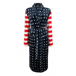 USA print badjas - fleece badjas