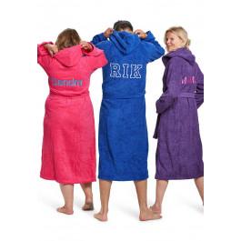 Capuchon badjas met borduring - 9 kleuren