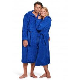 Kobaltblauwe badjas met capuchon