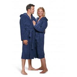 Marineblauwe badjas met capuchon