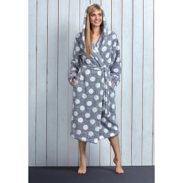 Stippen badjas met capuchon