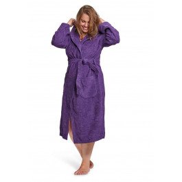 Paarse badjas met capuchon