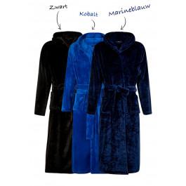 Fleece badjas capuchon borduren