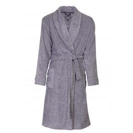 Fleece ochtendjas heren - Grijze/blauwe badjas