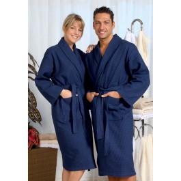 Wafel pique badjas marineblauw