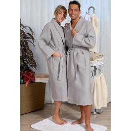Sauna badjas van wafelstof - grote maten grijs