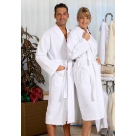 Wafel badjas wit - Grote maten badjas tot 10XL
