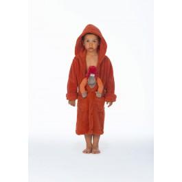 Woody kinderbadjas donker oranje
