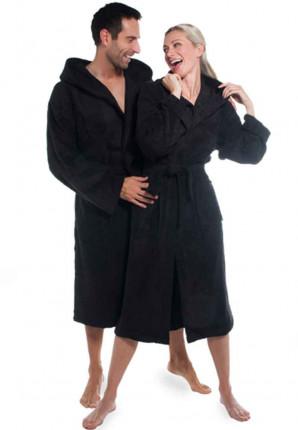 Zwarte badjas met capuchon