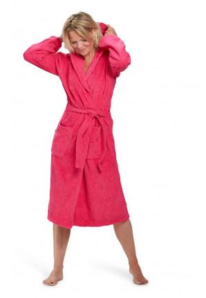 capuchon badjas dames roze badrock