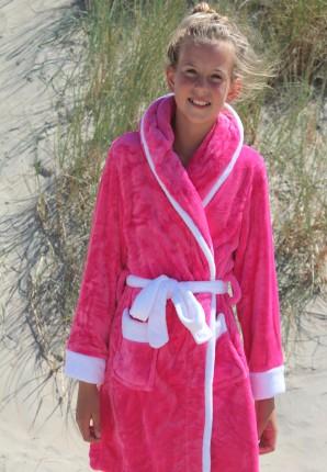 Roze fleece kinderbadjas