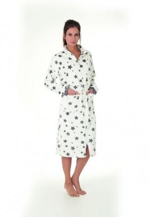 Fleece badjas met rits