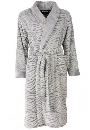 badjas tijgerprint grijs&wit