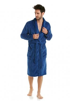 Heren badjas blauw/mele