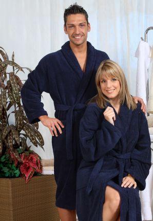 blauwe badjas in grote maat