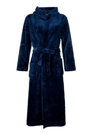 blauwe fleece badjas met capuchon