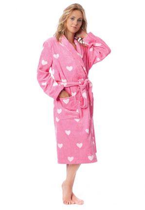 Roze damesbadjas met hartjes