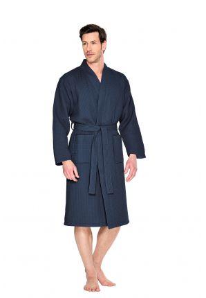 marineblauwe badjas pique