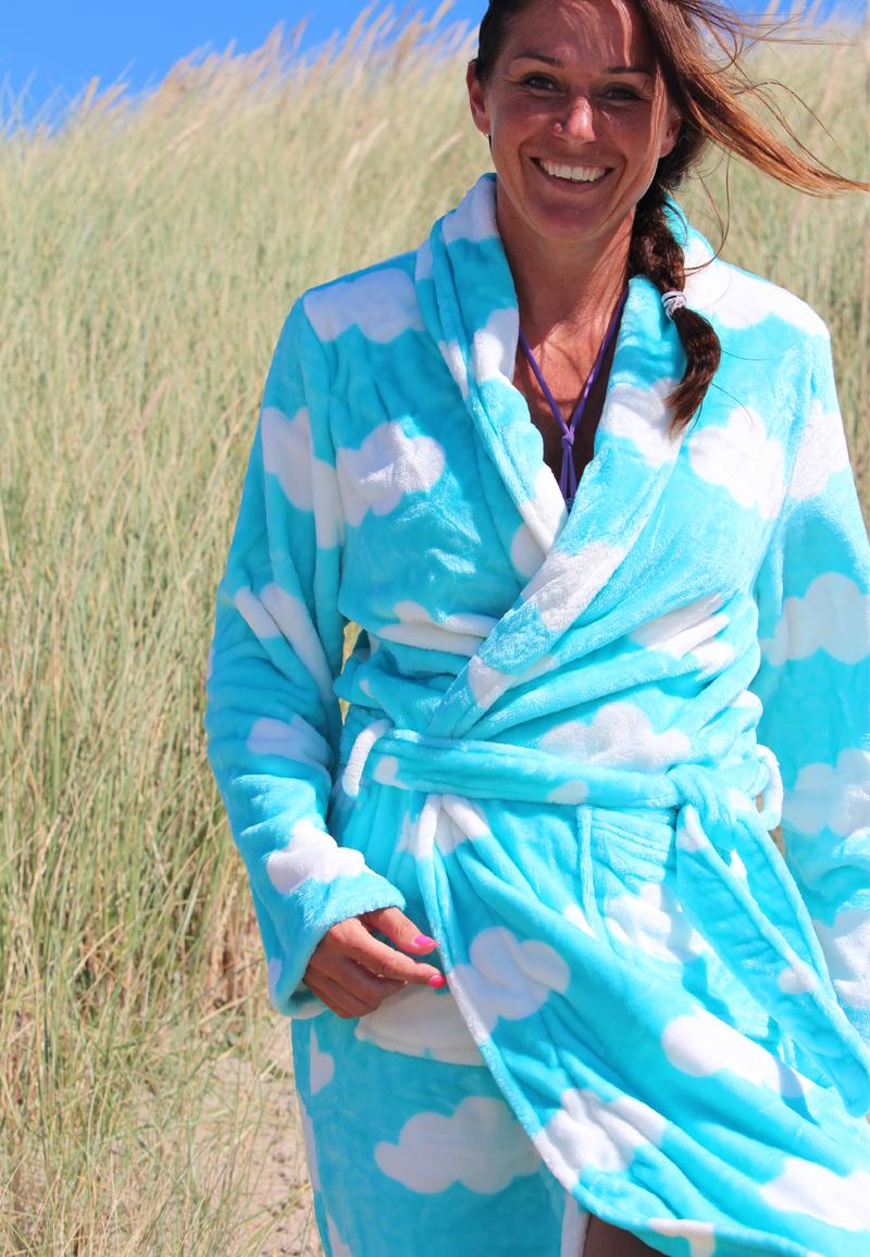 Dames badjas met wolken - L/XL