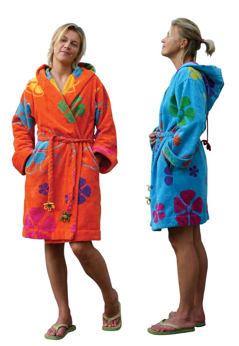 Dames badjas Sixtie's-aquablauw-XS/S (120CM)