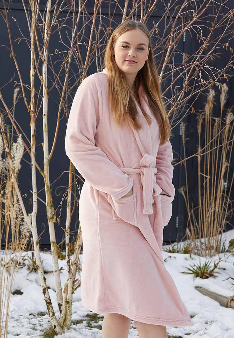 Oud roze badjas fleece-xl/xxl