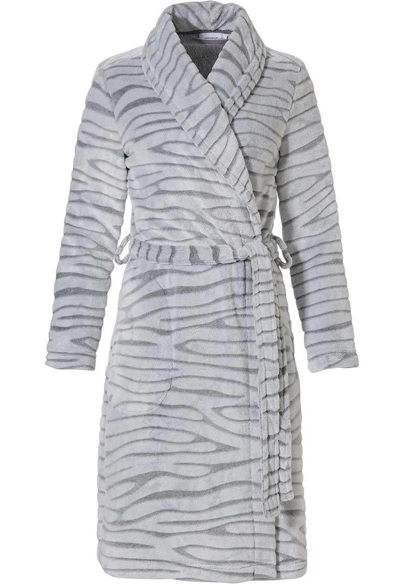 Licht grijze damesbadjas met dierenprint - fleece-(48-50) XL