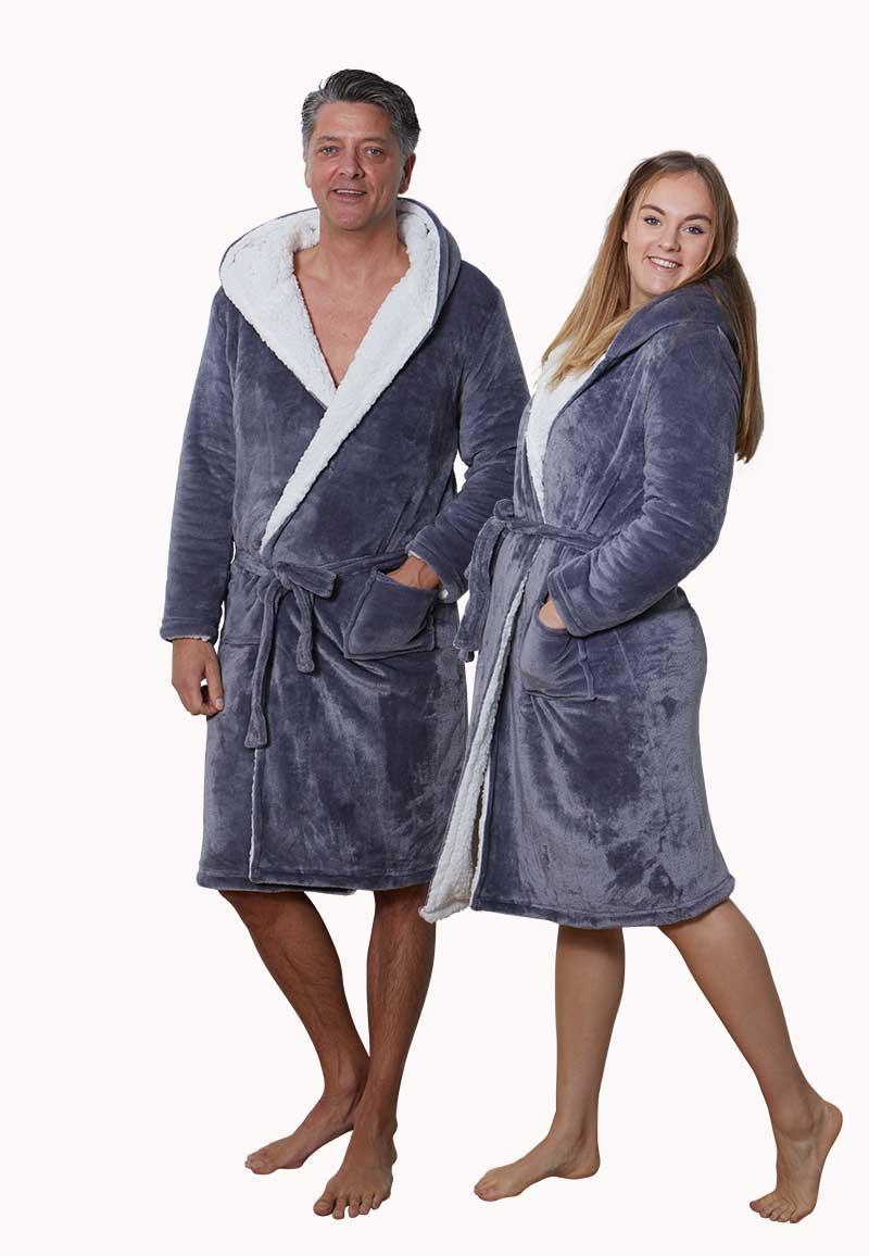 Sherpa badjas fleece - grijs-xl/xxl