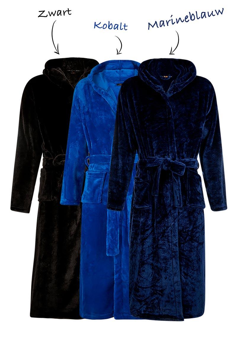 Fleece badjas capuchon borduren-kobaltblauw-s/m