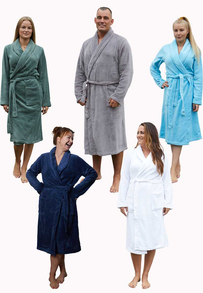 Badjas fleece unisex - 5 kleuren-wit-xl/xxl