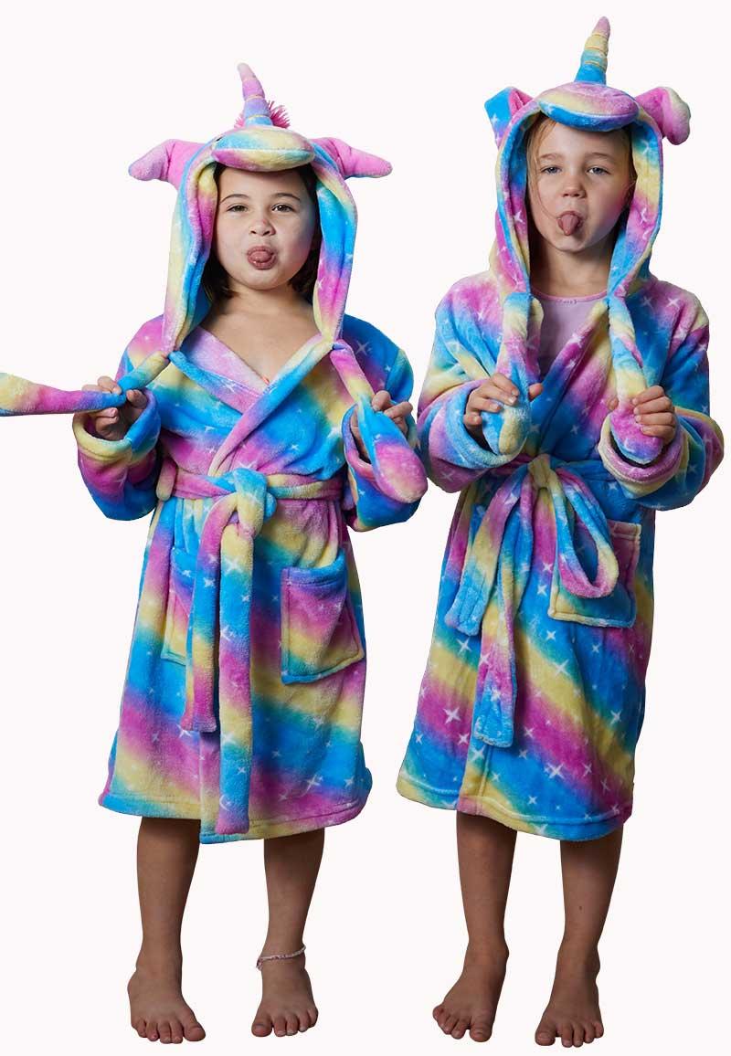 Unicorn kinderbadjas - bewegende oortjes-S (5-6 jaar)