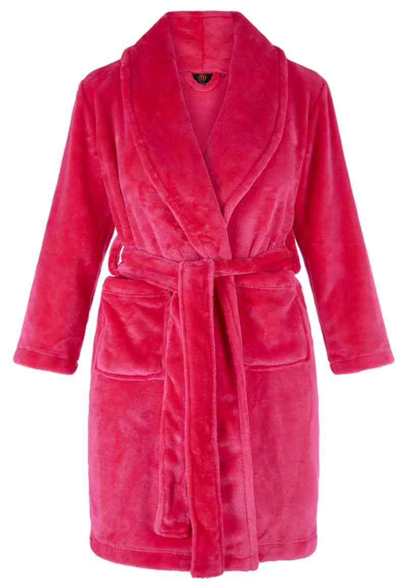 Hardroze kinderbadjas fleece-L (9-10 jaar)