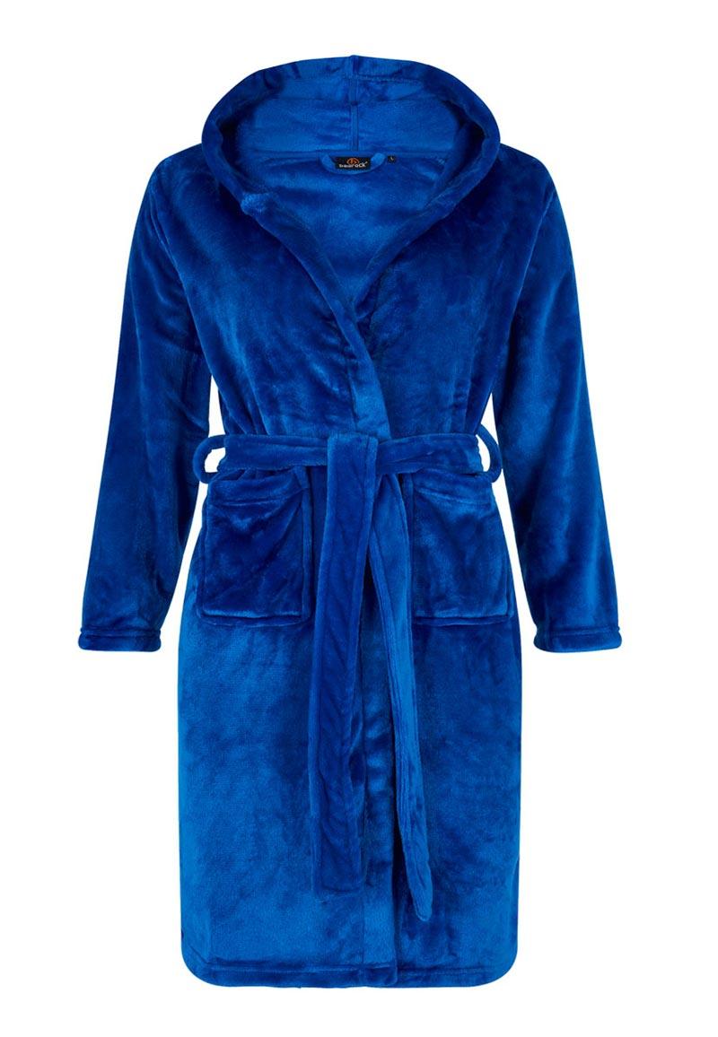 Tiener badjas koningsblauw - maat 134 tot 176-XL (11-13 jaar)