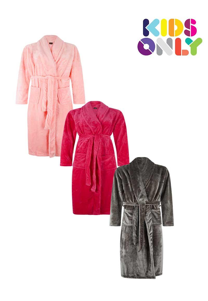 Fleece kinderbadjas met naam-S (5-6 jaar)-grijs