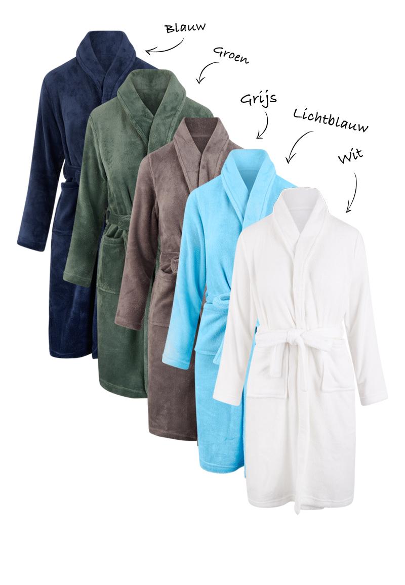 Fleece kinderbadjas borduren-grijs-134/140 (L)