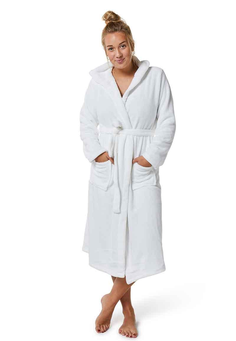 Witte fleece badjas met capuchon-l/xl