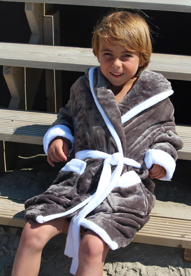 Badjas kind grijs - badjas met capuchon - L (9-10 jaar)