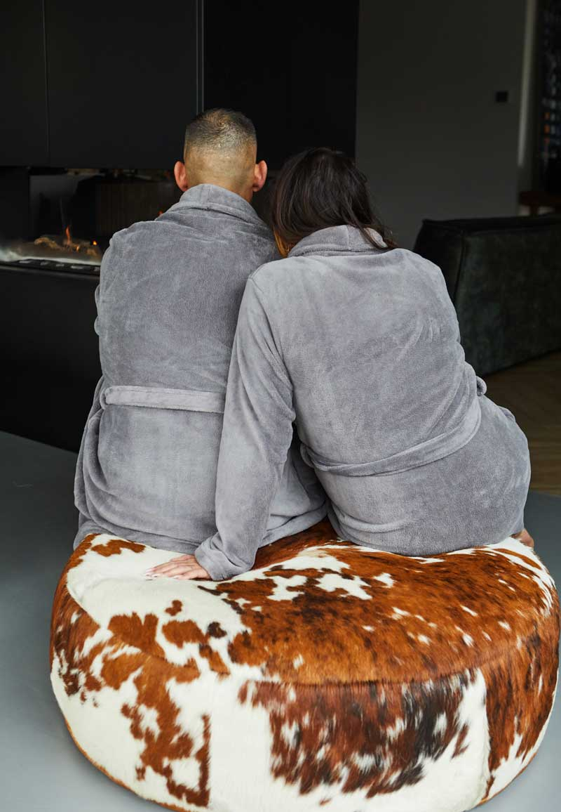 Lichtgrijze badjas fleece - unisex-s/m