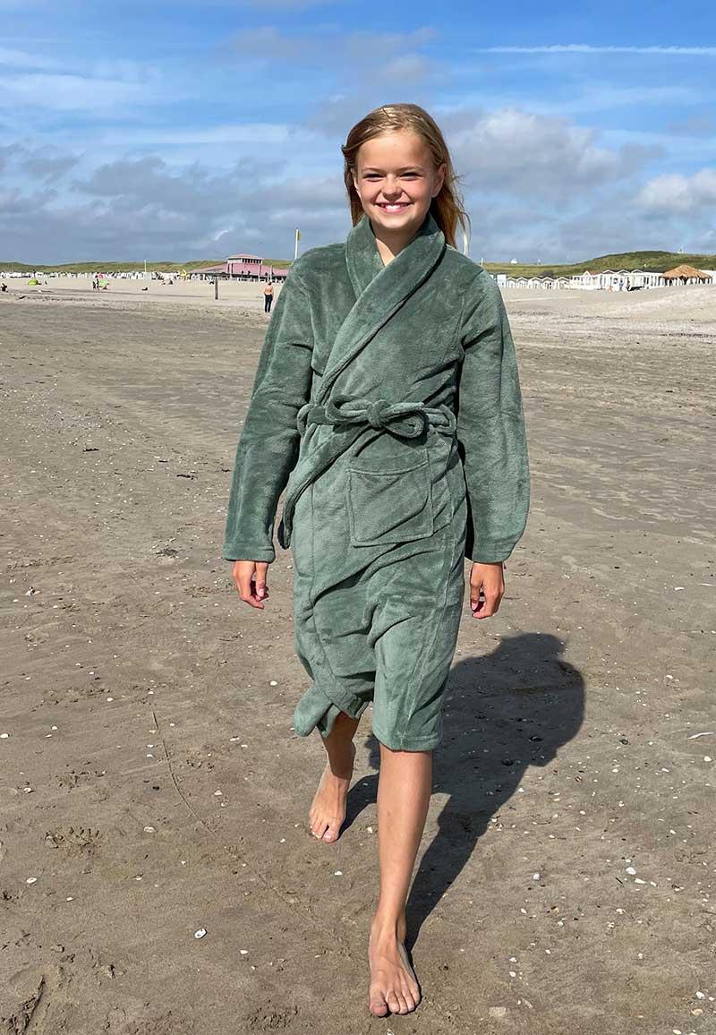 Groene kinderbadjas fleece-122/128 (M)