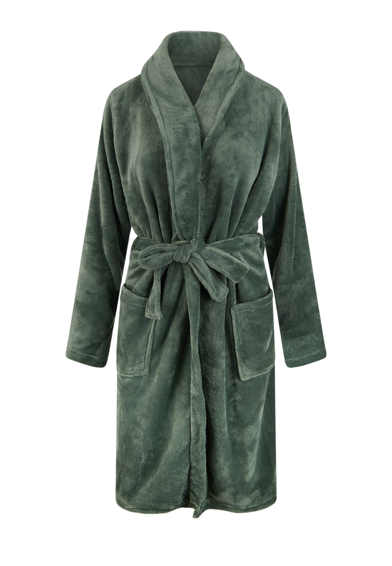 Olijfgroene badjas fleece - unisex-l/xl