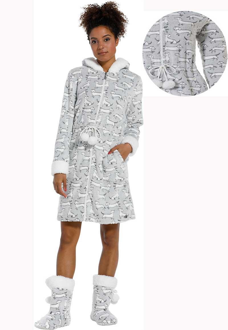 Fleece badjas teckels - capuchon badjas-s