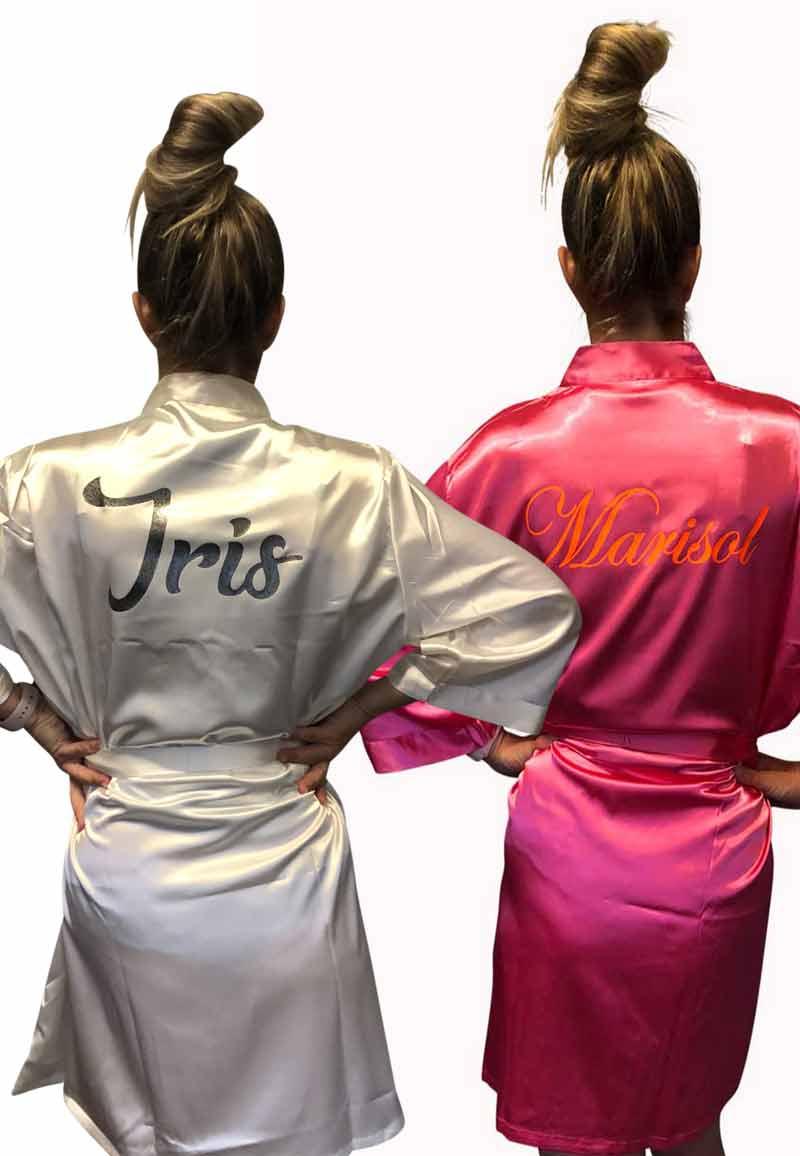 Satijnen kimono personaliseren bedrukking-one size (36-42)-lichtroze
