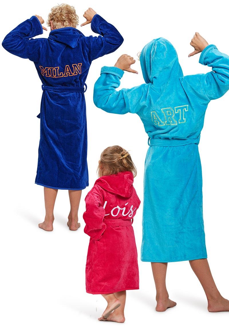 Kinderbadjas met naam-fuchsia-10-12 jaar