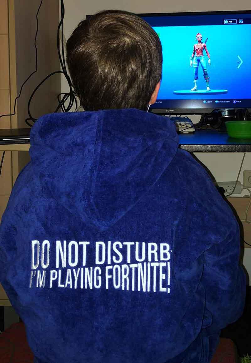 Fortnite kinderbadjas kobaltblauw-6-8 jaar