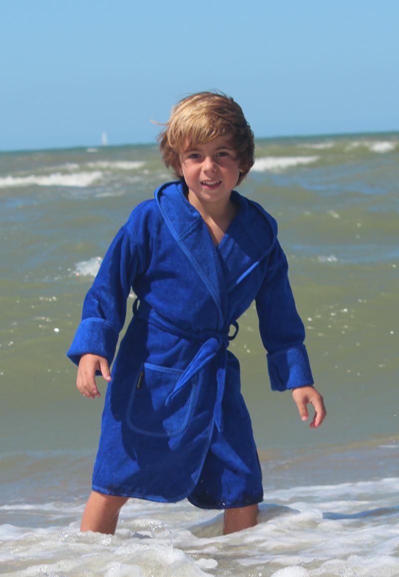Kinderbadjas in diversen kleuren - Kobaltblauw 0-12 maanden