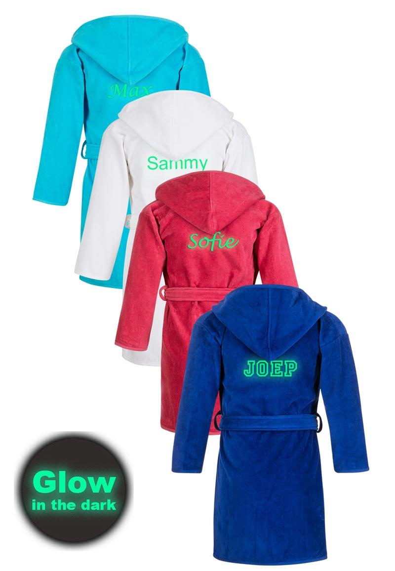 Kinderbadjas borduren GLOW in the dark-1-2 jaar-fuchsia