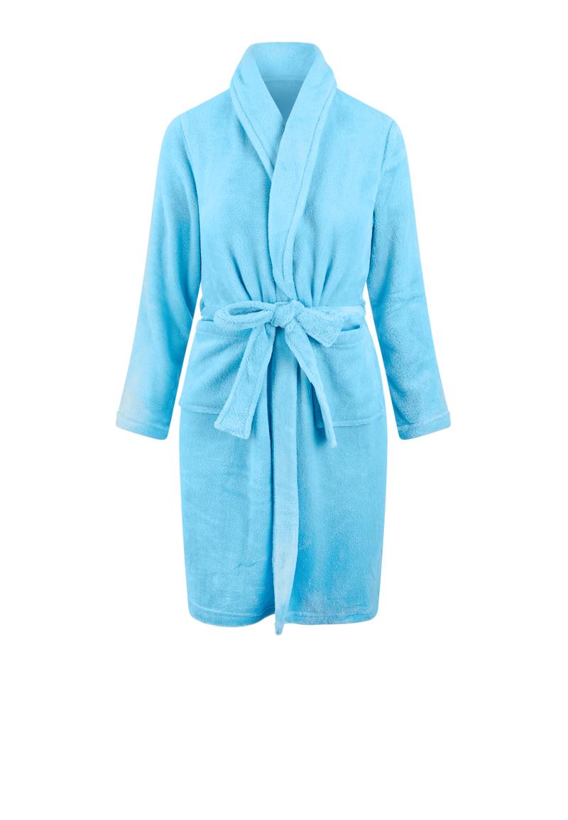 Lichtblauwe kinderbadjas fleece-152/158 (XL)