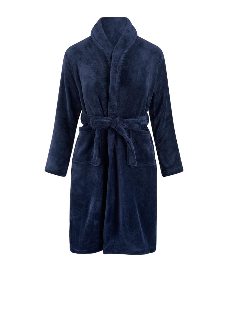 Marineblauwe kinderbadjas fleece-164/176 (XXL)
