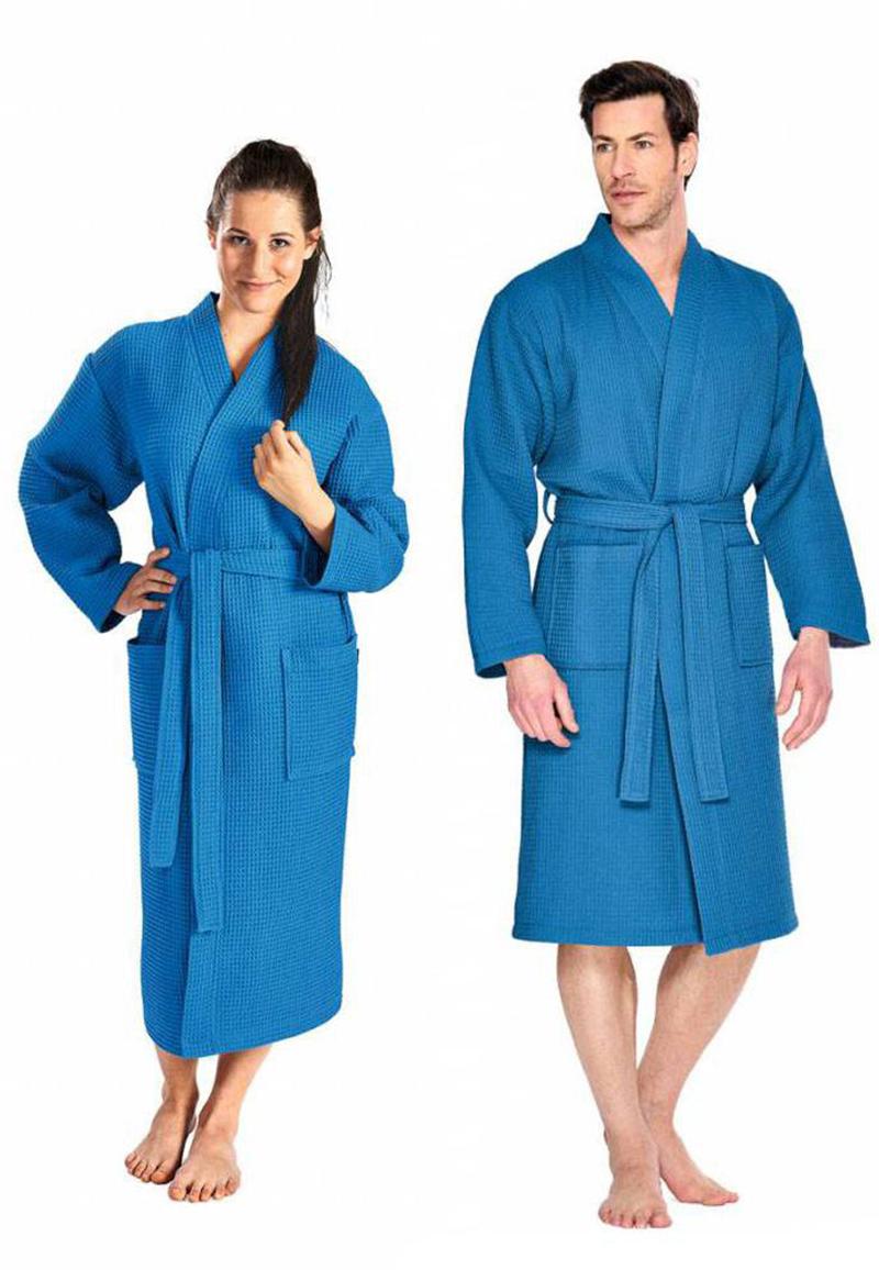Kobaltblauwe badjas pique-m